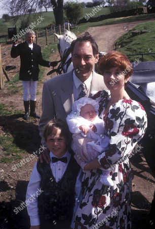 Stock Image of 'Emmerdale'  TV - 1994 Jack Sugden [Clive Hornby] and Sarah Sugden [Madeleine Howard]
