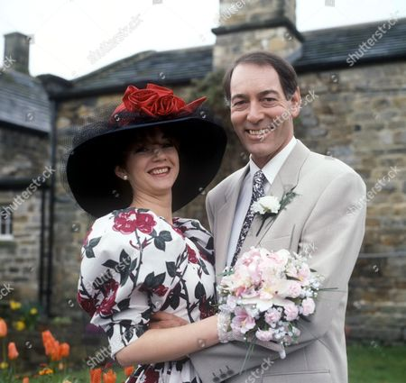 Stock Photo of 'Emmerdale'  TV - 1994 The Wedding of Sarah Sugden [Madeleine Howard] and Jack Sugden [Clive Hornby]