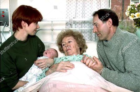 'Emmerdale'  TV - 1994 Sarah Sugden [Madeleine Howard], Sheila Mercier and Jack Sugden [Clive Hornby]