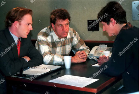'Emmerdale'  TV - 1997 - Frank Tate is charged with Kim's murder. Whiting [Christopher Lucas], Frank Tate [Norman Bowler], and D I Cooke  [Susie Baxter]