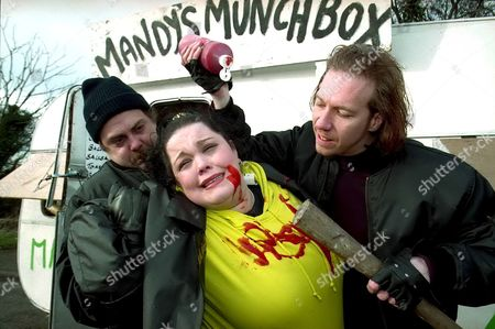 'Emmerdale'  TV - 1997 - Burger thugs raid the Muchbox. Colin [Andrew Livingston], Mandy Dingle [Lisa Riley] and Jimmy [Jack Marsden]
