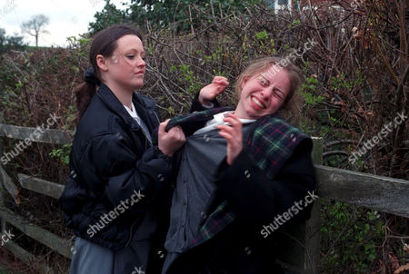 'Emmerdale'  TV - 1997 - Emma is bullied at school. Lyn Hutchinson [Sally Walsh] and Emma Cairns [Rebecca Loudonsack]