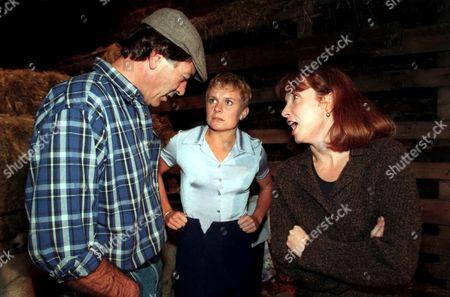 'Emmerdale'  TV - 1997  Jack Sugden [Clive Hornby], Glenda McKay and Sarah Sugden [Madeleine Howard]