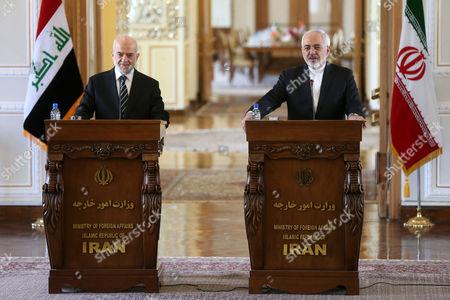 Mohammad Javad Zarif, Ibrahim al-Jafari Iranian Foreign Minister Mohammad Javad Zarif, right, speaks during a joint press conference with his Iraqi counterpart Ibrahim al-Jafari, in Tehran, Iran