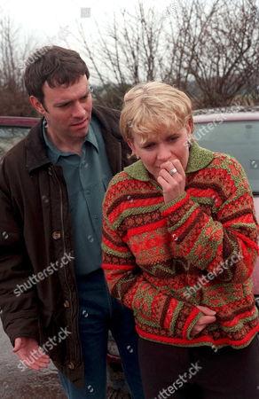 'Emmerdale'  TV - 1999 - Graham's (KEVIN PALLISTER) temper gets the better of him and both he and Rachel [Glenda McKAY) end up feeling shocked.