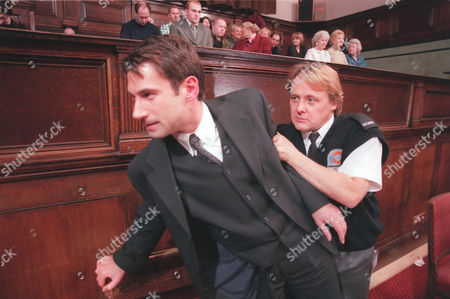 'Emmerdale'  TV - 1999 - Steve (PAUL OPACIC) can not believe the verdict of his trial and he tries to make his escape.