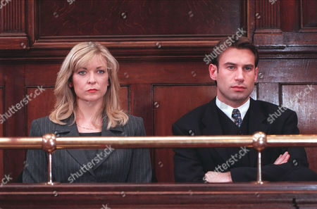 'Emmerdale'  TV - 1999 - The court case begins for Kim (CLAIRE KING) and Steve (PAUL OPACIC).