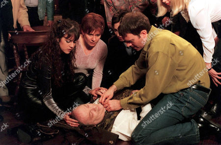 'Emmerdale'  TV - 1999 - Turner (RICHARD THORP) suddenly clutches his chest and collapses.  Horrified Tricia [Sheree Murphy], Rachel (GLENDA McKAY) and Graham (KEVIN PALLISTER) try to help.