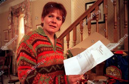 'Emmerdale'  TV - 1999 - Rachel (GLENDA McKAY) is shocked to discover that Graham has been applying for jobs away from Emmerdale.