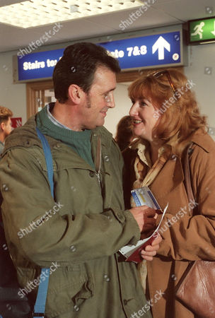 'Emmerdale'  TV - 1999 - Ned Glover (JOHNNY LEEZE) prepares to fly off into the sun with Dawn (ROSY CLAYTON).