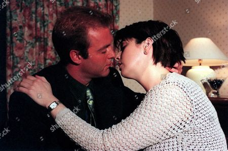 'Emmerdale'  TV - 1999 - Chris Tate (PETER AMORY) and Laura Johnstone's (LOUISE BEATTIE) passion gets the better of them.