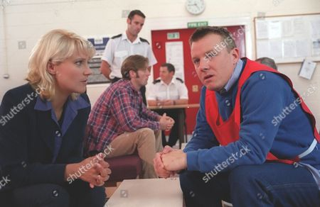 'Emmerdale'  TV - 1999 - Kathy [Malandra Burrows] visits Nick [Cy Chadwick] to tell him about Elsa. Nick tells her she's got to keep Elsa away from Alice, that he is depending on her.