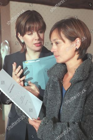 'Emmerdale'  TV - 1999 - Zoe (LEAH BRACKNELL) (right) visits Laura (LOUISE BEATTIE) and tells her she has changed her mind she wants to buy Home Farm.