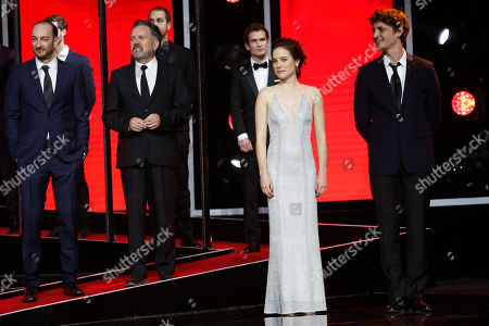 Stock Photo of From left to right in front row, Director, screenwriter and Actor Ken Scott, Director and screenwriter Michel Poulette, actress Caroline Dhavernas and Neils Schneider attend for the Tribute to Canadian Cinema at the 15th Marrakech International Film Festival in Marrakech, Morocco