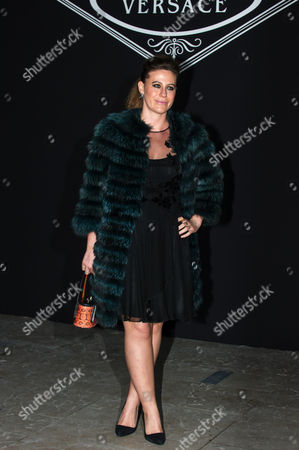 Daughter of Italian fashion designer Santo Versace, Francesca Versace arrives for Atelier Versace's Spring-Summer 2016 Haute Couture fashion collection presented in Paris