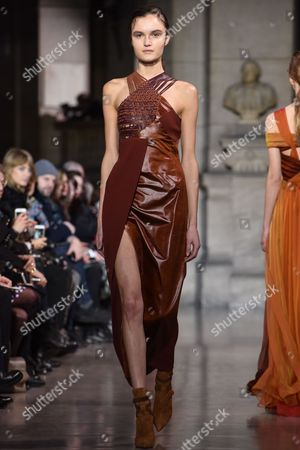 A model wears a creation as part of Yiqing Yin's Spring-Summer 2016 Haute Couture fashion collection, presented in Paris, France