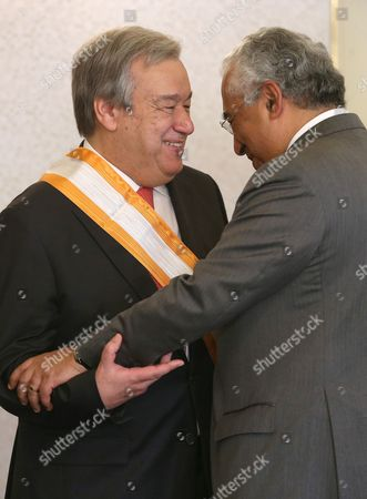 Antonio Guterres, Antonio Costa Antonio Guterres, former UN High Commissioner for Refugees, his congratulated by Portuguese Prime Minister Antonio Costa, right, after being decorated by President Anibal Cavaco Silva with the Great Cross of the Order of Liberty, in Lisbon. The Portuguese government has proposed Guterres as a candidate to replace Ban Ki-moon as next UN Secretary General