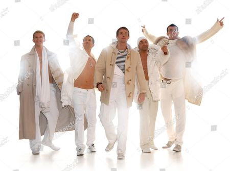 'Take That - The Musical', Dean Chisnall (plays 'Ash Sherwood', who is Gary Barlow in the tribute band), Eaton James ('Harry' who is Howard Donald in the band), Tim Driesen ('Adrian', who is Mark Owen), Stephane Anelli ('Jose' in the show, who is Jason Orange) and Craige Els ('Jake', who plays Robbie Williams)