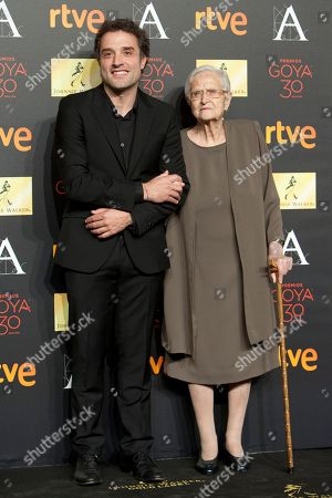 Daniel Guzman, Antonia Guzman Spanish director Daniel Guzman and his grandmother Antonia Guzman pose for photographers before the diner of nominees to Goya Awards 2016 in Madrid, Spain, on