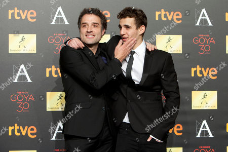 Daniel Guzman, Miguel Herran Spanish director Daniel Guzman and Spanish actor Miguel Herran pose for photographers before the diner of nominees to Goya Awards 2016 in Madrid, Spain, on