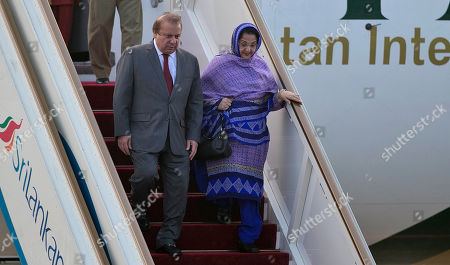 Kalsoom Nawaz Sharif, Nawaz Sharif Pakistani Prime Minister Nawaz Sharif and his wife Kalsoom Nawaz Sharif disembark from a flight after their arrival at Katunayaka International air port in Colombo, Sri Lanka, . Sharif arrived in Sri Lanka on a three day official visit during which several agreements including money laundering and terrorism are to be signed aiming to strengthening the bilateral relations between the two Asian nations