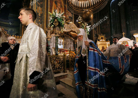 Filaret The head of the Ukrainian Orthodox Church Patriarch Filaret leads the service during the Christmas Eve mass in the St. Volodymyr Cathedral in Kiev, Ukraine