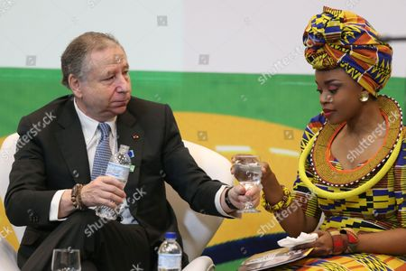 Jean Todt, Zoleka Mandela International Automobile Federation President Jean Todt, of France, offers a glass of water to Zoleka Mandela, Nelson Mandela's granddaughter, during the opening ceremony of the 2nd Global High-Level Conference on Road Safety, in Brasilia, Brazil, . Zoleka Mandela's 13-year-old daughter Zenani was killed in a 2010 car crash in Soweto