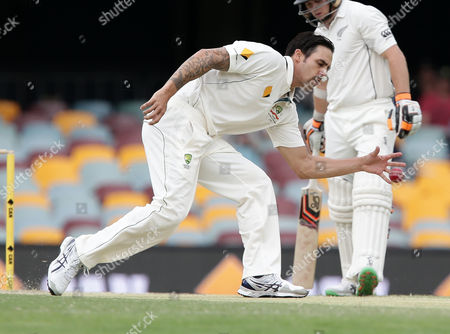 Mitchell Johnson Australia's Mitchell Johnson fields the ball during play on day four of a first cricket test match against New Zealand in Brisbane, Australia