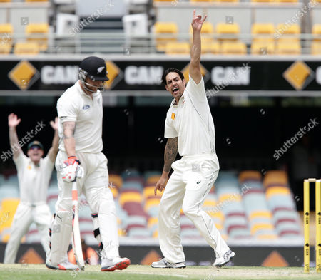 Mitchell Johnson Australia's Mitchell Johnson, right, appeals for the wicket of New Zealand's Jimmy Neesham during play on day five of their first cricket test match in Brisbane, Australia