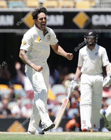 Mitchell Johnson Australia's Mitchell Johnson celebrates after getting the wicket of New Zealand's BJ Watling during play on day three of the first cricket test between Australia and New Zealand in Brisbane, Australia