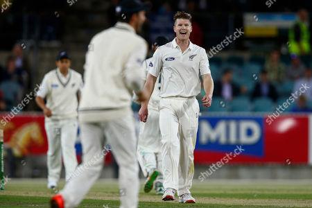 James Neesham New Zealand's bowler James Neesham celebrates taking the wicket of Australia's Mike Hussey during thir PM'S Xl cricket match in Canberra, Australia