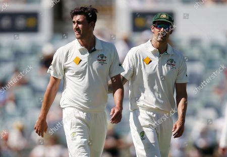 Australia's Mitchell Stark Australia's Mitchell Stark, left, and teammate Mitchell Johnson walk during their cricket test match against New Zealand in Perth, Australia, Saturday, Nov.14, 2015