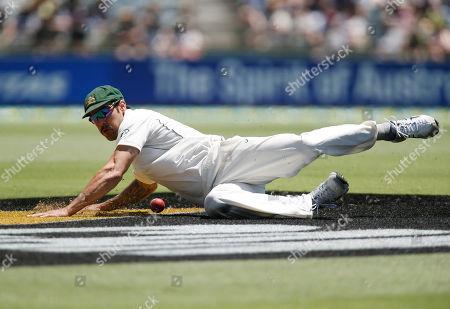 Mitchell Johnson Australia's Mitchell Johnson slides to field a ball against New Zealand during their cricket test match in Perth, Australia