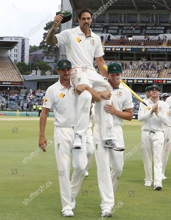 Mitchell Johnson Australia's Mitchell Johnson is chaired off the ground after completing in his final test in the cricket test match against New Zealand in Perth, Australia, Tuesday, Nov.17, 2015