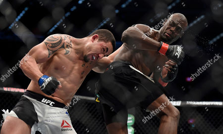 Stock Image of Robert Whittaker, Uriah Hall Robert Whittaker, left, and Uriah Hall fight during their UFC 193 middleweight bout in Melbourne, Australia
