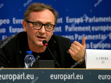 Andrzej Chyra Polish actor Andrzej Chyra speaks during a media conference at the European Parliament in Brussels on . A delegation of film personalities gathered at European Parliament on Tuesday to ask European nations to act in solidarity to protect the rights of refugees and migrants as well as to provide better living conditions for them