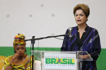 Dilma Rousseff Brazil's President Dilma Rousseff speaks during the opening ceremony of the 2nd Global High-Level Conference on Road Safety, in Brasilia, Brazil, . Zoleka Mandela, Nelson Mandela's granddaughter, is pictured in the background. Zoleka Mandela's 13-year-old daughter Zenani was killed in a 2010 car crash in Soweto