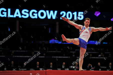 Britain's Daniel Purvis performs during the floor exercise during the men's team final competition at the World Artistic Gymnastics championships at the SSE Hydro Arena in Glasgow, Scotland