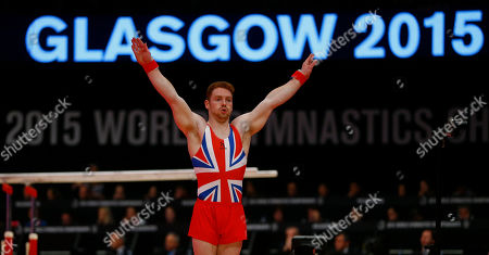 Britain's Daniel Purvis performs his floor exercise during the men's all-around final competition at the World Artistic Gymnastics championships at the SSE Hydro Arena in Glasgow, Scotland