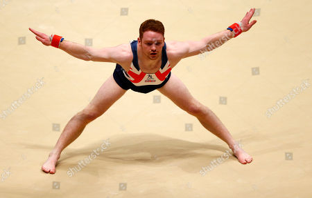 Britain's Daniel Purvis performs his floor exercise during the men's apparatus final competition at the World Artistic Gymnastics championships at the SSE Hydro Arena in Glasgow, Scotland