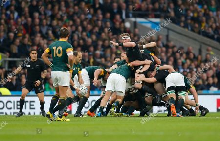 South Africa's captain Fourie Du Preez prepares to kick the ball from a scrum during the Rugby World Cup semifinal match between South Africa and New Zealand at Twickenham Stadium, London