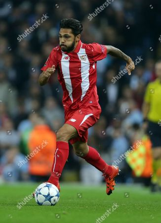 Sevilla's Benoit Tremoulinas in action during their Champions League Group D soccer match against Manchester City at the Etihad Stadium in Manchester, England