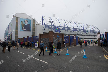 Everton's Goodison Park Stadium with a picture of former manager Howard Kendall is seen in the mist before the English Premier League soccer match between Everton and Sunderland at Goodison Park Stadium, Liverpool, England, Sunday Nov.1, 2015