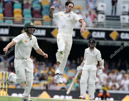 Mitchell Johnson Australia's Mitchell Johnson celebrates after he got the wicket of New Zealand's Ross Taylor during play on day two of the first cricket test between Australia and New Zealand in Brisbane, Australia