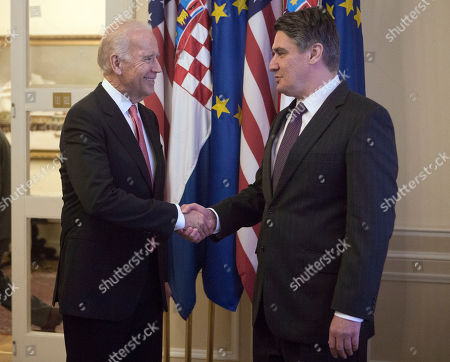 Joe Biden, Zoran Milanovic U.S. Vice President Joe Biden, left, is welcomed by Croatia's Prime Minister Zoran Milanovic, in Zagreb, Croatia, . Vice President Joe Biden attends a conference of southern and eastern European leaders to discuss the surge of migration this year