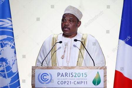 President of The Comoros Ikililou Dhoinine delivers his statement during the COP21, United Nations Climate Change Conference, in Le Bourget, outside Paris