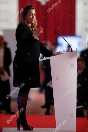 French Junior minister for Digital Economy Axelle Lemaire delivers her speech during the opening of the France Germany Online Conference at the Elysee Palace in Paris, Tuesday, Oct, 27, 2015. German Chancellor Angela Merkel and French President Francois Hollande meet online entrepreneurs and hold talks on how to making Europe's economy more digital-friendly