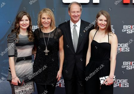 US ambassador John B. Emerson, 2nd right, his wife Kimberly Emerson, 2nd left, and their daughters Hayley and Taylor arrive for the Europe premiere of the movie 'Bridge of Spies' in Berlin, Germany