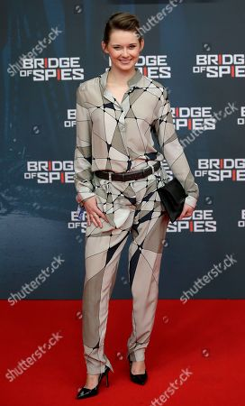 Stock Image of Actress Nadja Bobyleva arrives for the Europe premiere of the movie 'Bridge of Spies' in Berlin, Germany