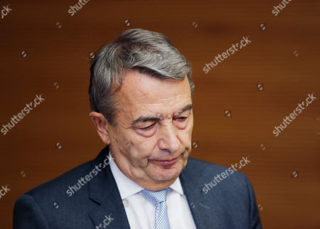 President of German soccer federation Wolfgang Niersbach addresses the media announcing that he steps back from his post as president in Frankfurt, Germany